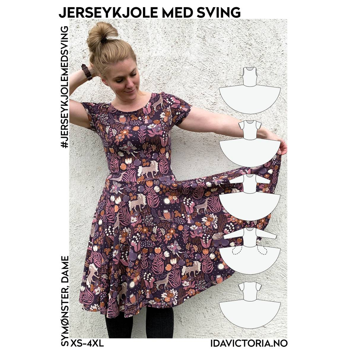 Jerseykjole med sving (XS-4XL)